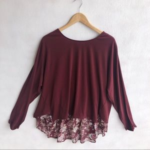 Umgee maroon floral top size L